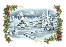 Christmas winter happy scene with frame Stock Image
