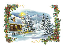 Christmas winter happy scene with frame Royalty Free Stock Image