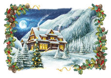 Christmas winter happy scene with frame Royalty Free Stock Photos
