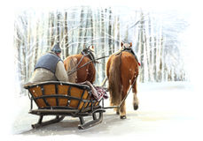 Christmas winter happy scene with frame - man in the sleigh with two horses Stock Image