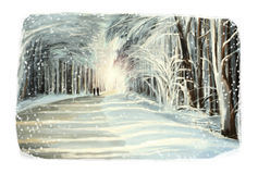 Christmas winter happy scene with frame - people walking in the forest Royalty Free Stock Image