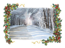 Christmas winter happy scene with frame - people walking in the forest Stock Photo