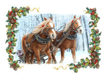 Christmas winter happy scene with frame - sleigh with two running horses Stock Photo