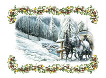 Christmas winter happy scene with horses and with a frame Royalty Free Stock Photography