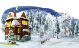 Christmas winter happy scene with wooden house. Happy and funny traditional illustration for children - scene for different usage Royalty Free Stock Image