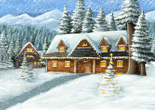 Christmas winter happy scene with wooden house. Happy and funny traditional illustration for children - scene for different usage Royalty Free Stock Images
