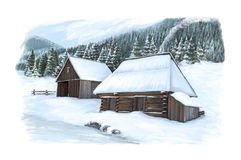 Christmas winter happy scene with wooden houses in a foggy day. Happy and funny traditional illustration for children - scene for different usage Stock Photos