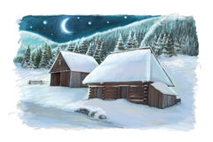 Christmas winter happy scene with wooden houses in the mountains - by night. Happy and funny traditional illustration for children - scene for different usage Stock Images