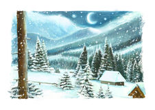 Christmas winter happy scene with wooden houses in the mountains - by night. Happy and funny traditional illustration for children - scene for different usage Royalty Free Stock Photo
