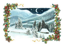 Christmas winter happy scene with wooden houses in the mountains - by night. Happy and funny traditional illustration for children - scene for different usage Stock Photography