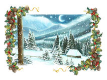 Christmas winter happy scene with wooden houses in the mountains - by night. Happy and funny traditional illustration for children - scene for different usage Royalty Free Stock Photography