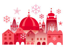 Christmas_winter_historical_town. Vector illustration of lovely winter town Stock Images