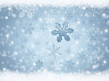 Christmas winter holiday background with snowflakes and frozen snow frame vector illustration