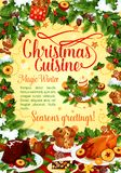 Christmas winter holiday banner of New Year dishes. Christmas winter holiday banner with festive dishes and New Year garland frame. Baked turkey, Xmas pudding Stock Photography