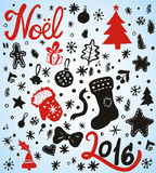 Christmas and Winter Holiday Doodles. Hand written Noel 2016. Vector illustration for your designs Stock Images
