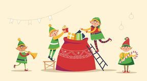 Christmas winter holiday, elves getting ready for holiday vector. vector illustration