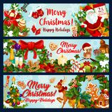Christmas, New Year winter holidays festive banner. Christmas winter holiday festive banner set. Xmas tree and holly wreath with Santa bell, ribbon and gift Royalty Free Stock Images