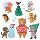 Christmas and winter holiday funny animals vector collection Stock Photography