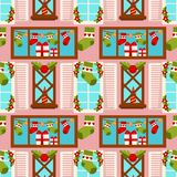 Christmas winter holiday gift stocking seamless pattern background vector New Year decoration house window greeting card. Christmas decoration pattern background Royalty Free Stock Photography
