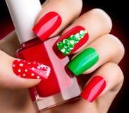 Christmas winter holiday nailart manicure Royalty Free Stock Photos