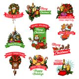 Christmas winter holiday or New Year festive badge. Christmas winter holiday and New Year festive badge set. Xmas tree and holly berry wreath with Santa, snowman Royalty Free Stock Photos