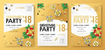 Christmas winter holiday party celebration poster or invitation card of golden decoration and gold gift present. Vector glittering. Confetti on white background
