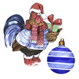 Christmas winter holiday symbol in a watercolor style isolated. 2017 cock year, happy holidays. Aquarelle christmas card for background, texture, wrapper Stock Photos