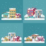 Christmas winter holiday vector backgrounds set with town streets. Winter town landscape, house village building in snow illustration Stock Photography