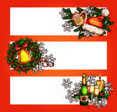 Christmas winter holidays banner with copy space. Christmas festive banner set with copy space. Holly berry wreath with bell, pine tree with candy cane Stock Image