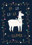 Christmas or Winter Holidays Card with llama and Festive Lights Garland.  Royalty Free Stock Photo