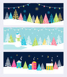 Christmas and Winter Holidays Events Festive Backgrounds, Banners or Headers with Landscape, Snowman, Trees and Royalty Free Stock Photos