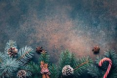 Winter wallpaper with fir tree, pine cones and candy cane. Christmas or winter holidays frame with fir tree, pine cones, spices and candy cane. Christmas Stock Images