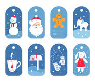 Christmas and Winter Holidays Gift Labels or Tags with Mittens, Santa and White Elephant Stock Image