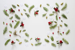 Christmas and winter holidays theme background. Winter holidays and Christmas background or greeting card template, flat lay, space for a text Stock Images