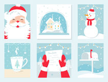 Christmas and Winter Holidays Vector Cards. Santa Claus, Snow Globe, Snowman, Letter to Santa and Mailbox. Royalty Free Stock Photography