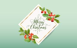 Christmas Winter Holly Berry Banner, Graphic Background, December Invitation, Flyer or Card. In Vector Stock Photo