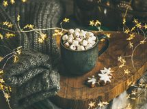 Christmas winter hot chocolate in mug with marshmallows and cookies royalty free stock photos