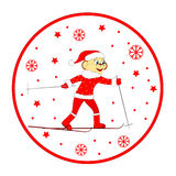 Christmas,winter icon,card. monkey skiing Royalty Free Stock Photography