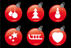 Christmas and Winter Icons #2. A set of 6 christmas ball symbols Royalty Free Stock Images