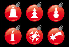Christmas and Winter Icons #3. A set of 6 christmas ball symbols Royalty Free Stock Images