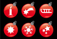 Christmas and Winter Icons #4. A set of 6 christmas ball symbols Royalty Free Stock Image