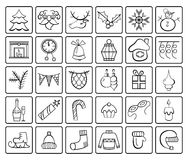 Christmas and Winter icons collection. Black and white. Stock Image