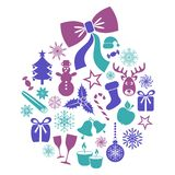 Christmas and winter icons Royalty Free Stock Images