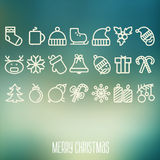 Christmas and Winter icons collection Royalty Free Stock Photography