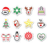 Christmas, winter icons set - Santa Claus, snowman Royalty Free Stock Photo