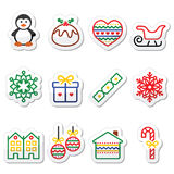 Christmas, winter icons with stroke - penguin, Christmas pudding Stock Image