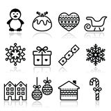 Christmas, winter icons with stroke - penguin, Christmas pudding Royalty Free Stock Images