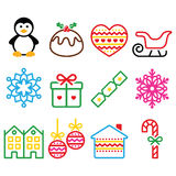 Christmas, winter icons with stroke - penguin, Christmas pudding. Vector colorful icons set for celebrating Xmas isolated on white Royalty Free Stock Photo
