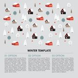 Christmas winter infographics template. Snowy landscape with hand drawn trees and houses. Vector illustration background. Christmas winter infographics template Stock Photography