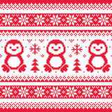 Christmas, winter knitted pattern with penguins - Scandinavian sweater style Royalty Free Stock Photo